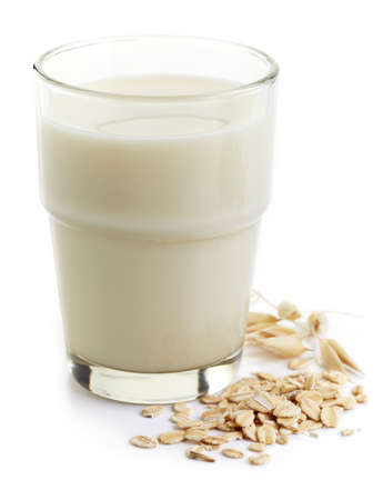 Photo for Glass of oat milk isolated on white background - Royalty Free Image
