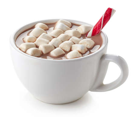 Photo for Cup of hot cocoa with marshmallows and candy stick isolated on white background - Royalty Free Image