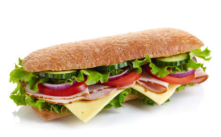 Photo for Fresh submarine sandwich with ham, cheese, tomatoes, cucumbers, lettuce and onions isolated on white background - Royalty Free Image