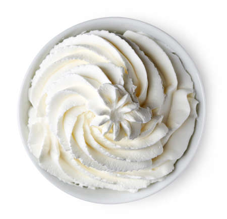 Photo for Bowl of whipped cream isolated on white background from top view - Royalty Free Image