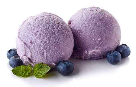 Photo pour Two purple blueberry ice cream balls isolated on white background - image libre de droit