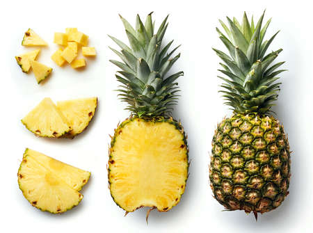 Photo for Fresh whole and cut pineapple isolated on white background. From top view - Royalty Free Image