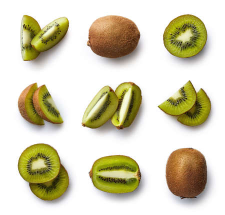 Photo for Set of fresh whole and cut kiwi and slices isolated on white background. From top view - Royalty Free Image