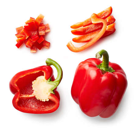Photo for Sweet red pepper isolated on white background. Top view. Half and slices - Royalty Free Image