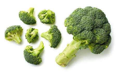 Photo for Fresh broccoli isolated on white background. Top view - Royalty Free Image