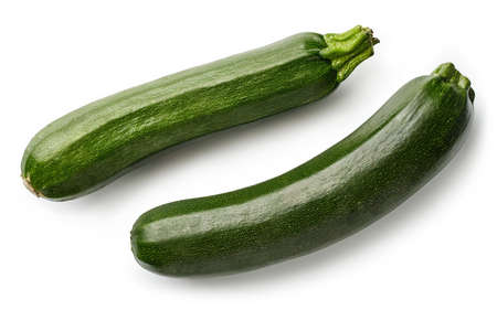 Photo pour Two fresh whole zucchini isolated on white background. Top view - image libre de droit