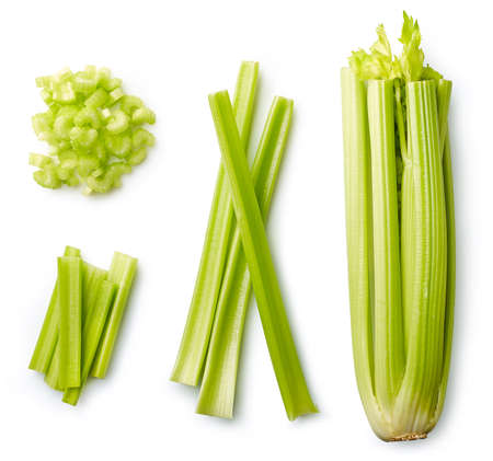 Photo for Fresh sliced celery isolated on white background. Top view - Royalty Free Image