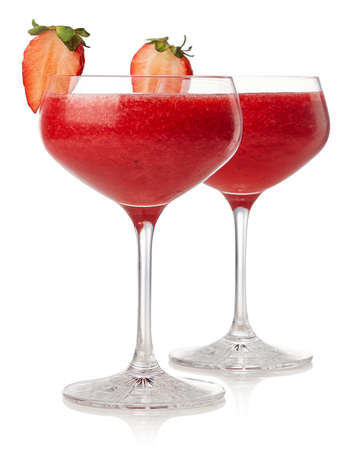 Photo for Two glasses of strawberry daiquiri cocktail isolated on white background - Royalty Free Image