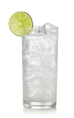 Foto de Glass of gin and tonic cocktail isolated on white background. Sparkling drink - Imagen libre de derechos