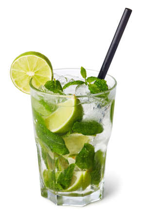 Foto de Glass of Mojito cocktail isolated on white background - Imagen libre de derechos