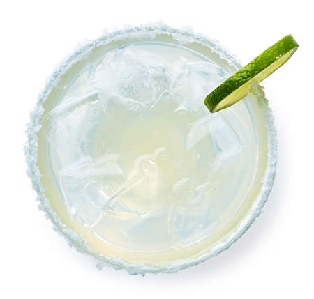 Photo for Glass of Margarita cocktail isolated on white background. Top view - Royalty Free Image
