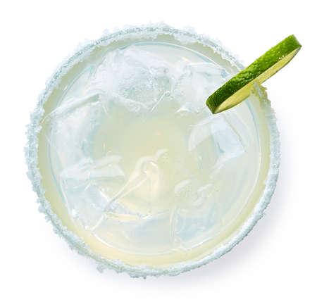 Foto de Glass of Margarita cocktail isolated on white background. Top view - Imagen libre de derechos