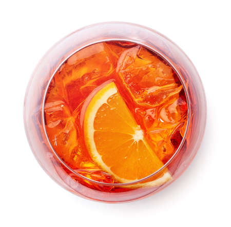 Photo for Glass of Aperol spritz cocktail isolated on white background. Top view - Royalty Free Image