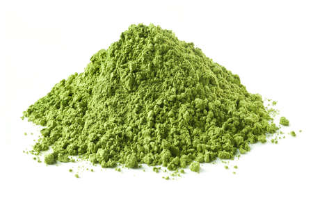 Photo for Heap of green matcha tea powder isolated on white background - Royalty Free Image