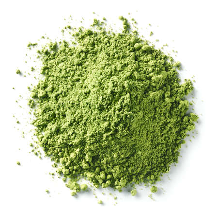 Photo pour Heap of green matcha tea powder isolated on white background. Top view - image libre de droit