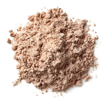 Photo pour Heap of brown chocolate protein powder isolated on white background. Top view - image libre de droit