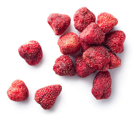 Photo for Heap of freeze dried strawberries isolated on white background. Top view - Royalty Free Image