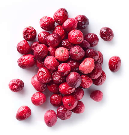 Photo for Heap of freeze dried cranberries isolated on white background. Top view - Royalty Free Image