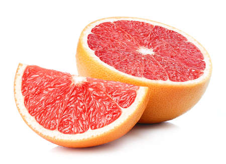 Photo pour Half and slice of perfectly retouched grapefruit isolated on white background - image libre de droit