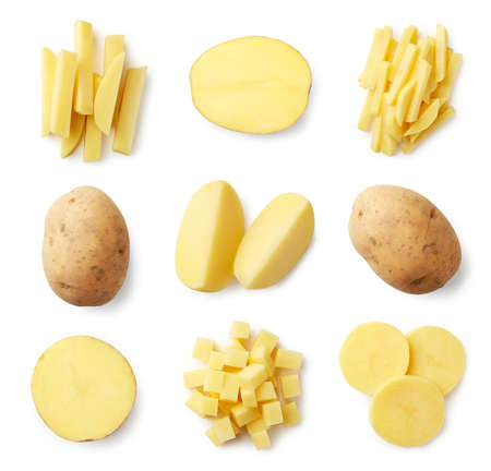 Photo pour Set of fresh whole and sliced potatoes isolated on white background. Top view - image libre de droit