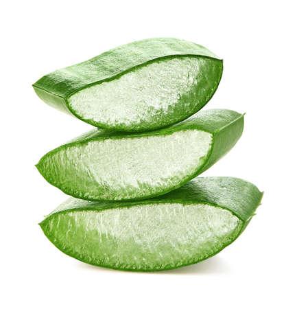 Foto de Fresh sliced Aloe Vera leaf isolated on white - Imagen libre de derechos