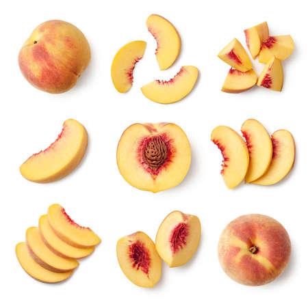 Foto de Set of fresh whole and sliced peach fruit isolated on white background, top view - Imagen libre de derechos