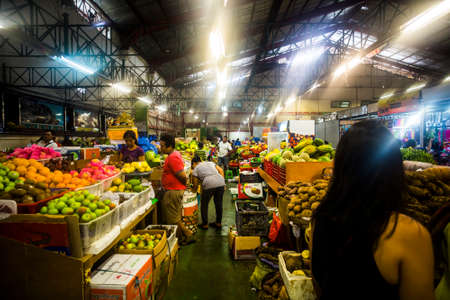 Bali, Indonesia - 26 September, 2016: Produce, meat and dry goods at the Badung Market in Denpasar