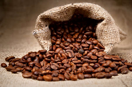 Studio Shot of Coffee Beans in a Bag