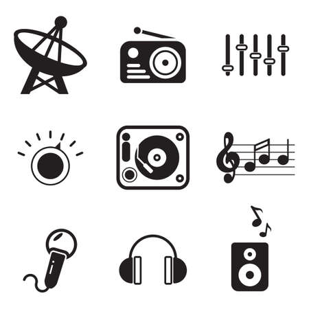 Illustration pour Radio Station Icons - image libre de droit