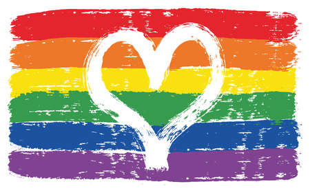 Illustration pour LGBTQ Love Flag Vector Hand Painted with Rounded Brush - image libre de droit