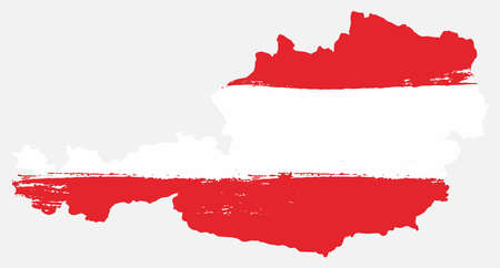 Illustration pour Austria flag and map vector hand painted with rounded brush. - image libre de droit