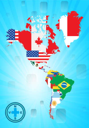 Outline north and sud american map with national flag, vector illustration