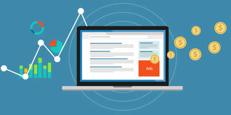 Ilustración de Online advertising pay per click clickjacking - Imagen libre de derechos