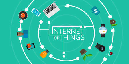 Illustration pour Internet of Things flat iconic illustration - image libre de droit