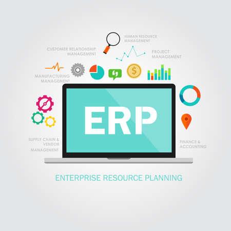 Illustration pour erp enterprise reource planning software application system - image libre de droit