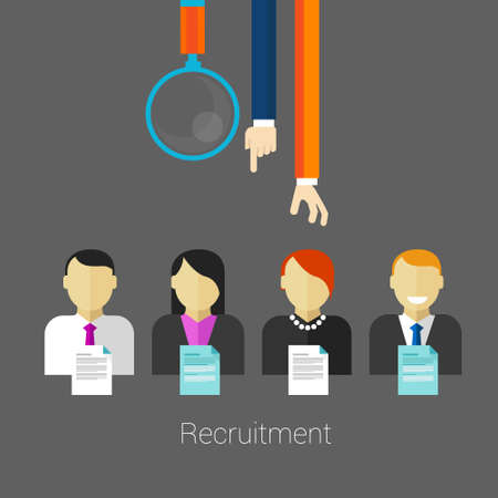 Illustration pour employee recruitment human resource selection interview analysis - image libre de droit