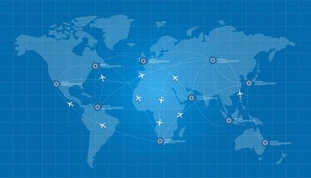 Illustration pour world map plane logistic in blue print network vector connect - image libre de droit