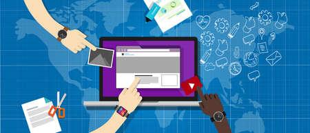 Illustration pour cms content management system in laptop build web element - image libre de droit