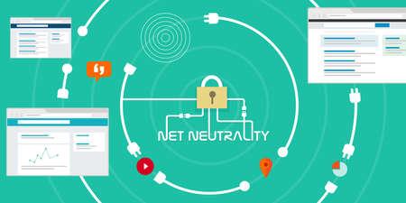 Illustration pour Net Neutrality network internet concept vector illustration - image libre de droit