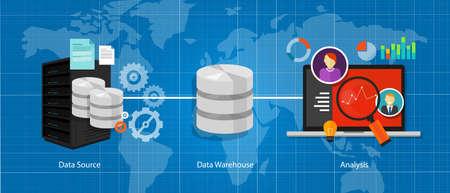 Illustration pour data business intelligence warehouse database analysis vector - image libre de droit