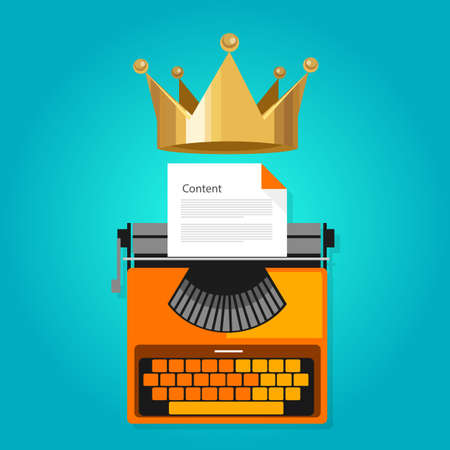 Ilustración de content is king seo web optimization icon vector - Imagen libre de derechos