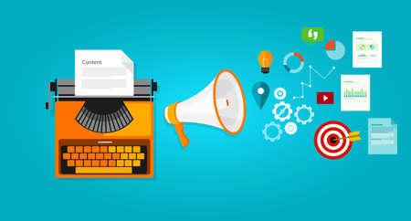 Illustration pour content marketing seo optimization online blog internet - image libre de droit