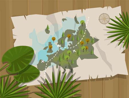Illustration pour jungle map europe cartoon adventure treasure hunt - image libre de droit