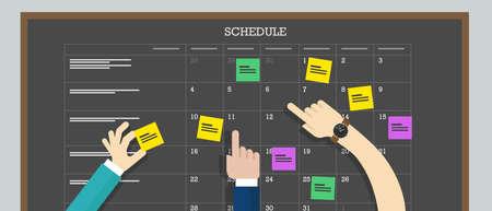 Illustration pour calendar schedule board with hand collaboration plan board - image libre de droit
