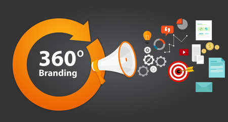 Illustration pour 360 branding strategy concept brand marketing vector - image libre de droit