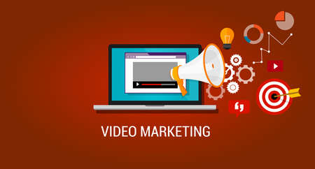 Ilustración de video marketing youtube advertising webinar digital advertising online - Imagen libre de derechos