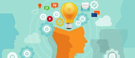Ilustración de information iverload data idea gear head lamp bulb - Imagen libre de derechos