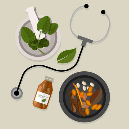 Illustration for natural alternative medicine homeopathy traditional health way - Royalty Free Image