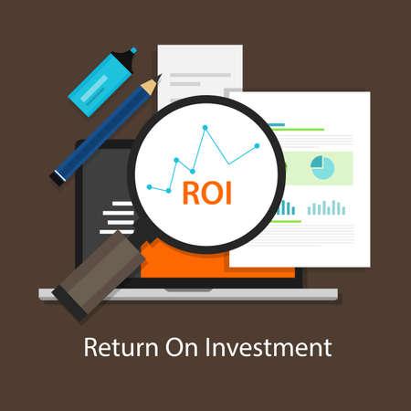 Ilustración de ROI Return on of investment business plan - Imagen libre de derechos