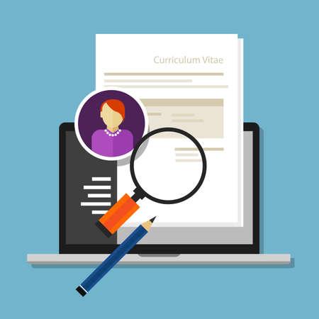 Illustration pour curriculum vitae cv resume employee recruitment data paper work - image libre de droit